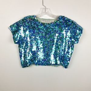 Michael Simon NY Mermaid Sequin Cropped Sweater